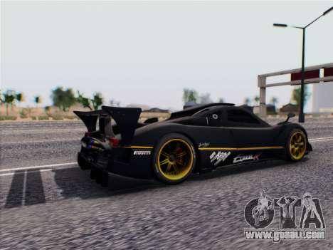 Pagani Zonda R 2009 for GTA San Andreas back left view