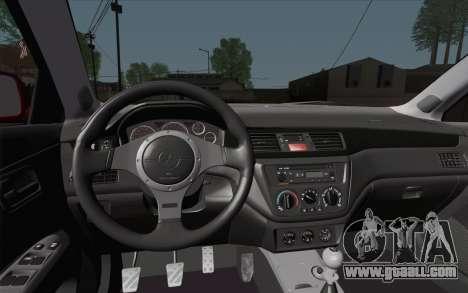 Mitsubishi Lancer MR Edition for GTA San Andreas back view