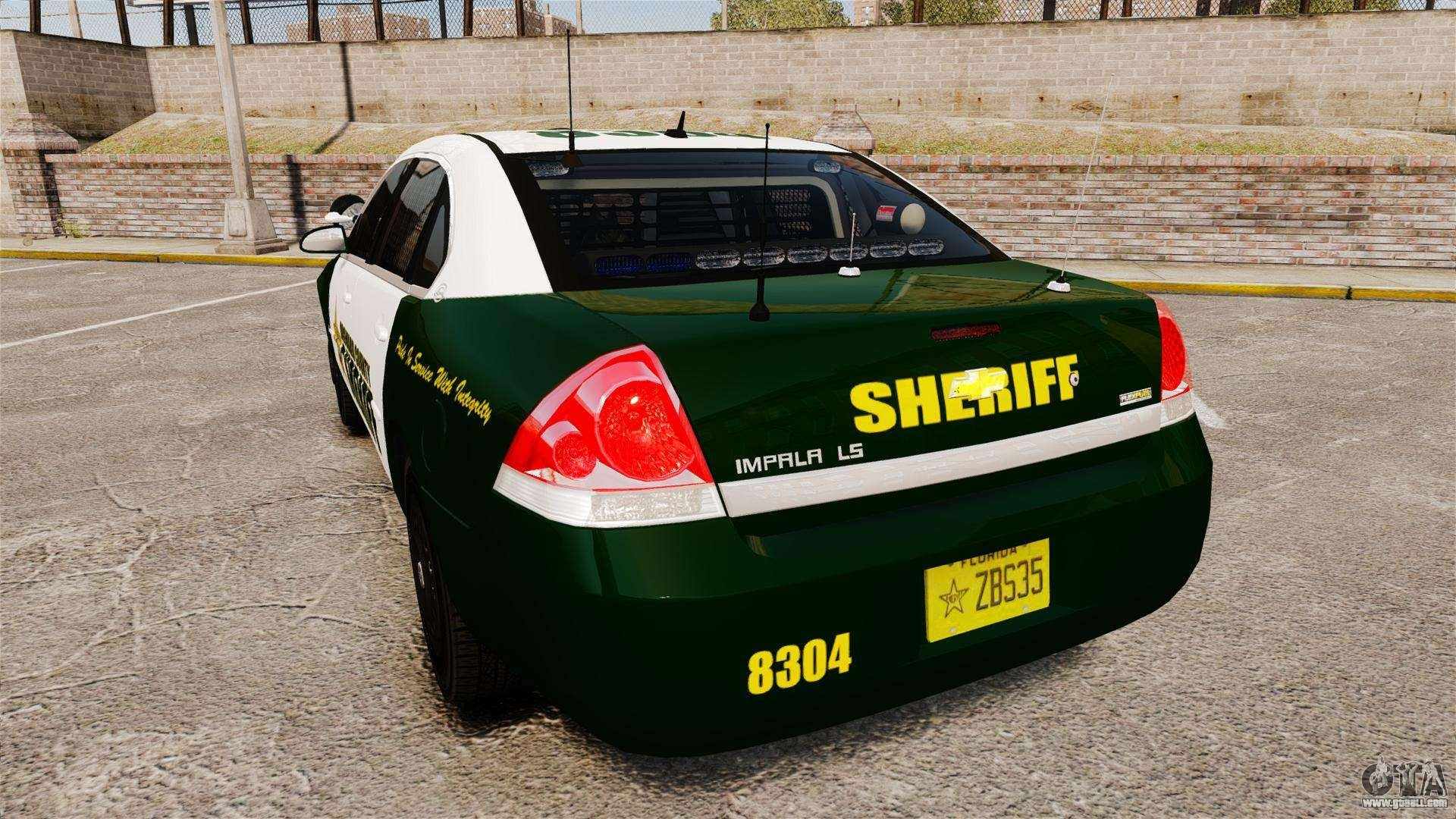 Chevrolet impala 2010 broward sheriff els for gta 4 back left view