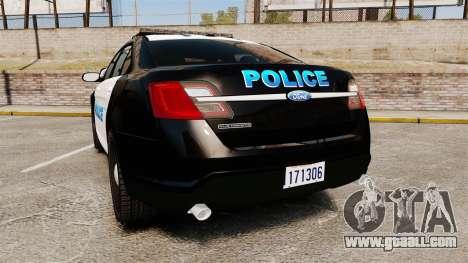 Ford Taurus Police Interceptor 2013 [ELS] for GTA 4 back left view