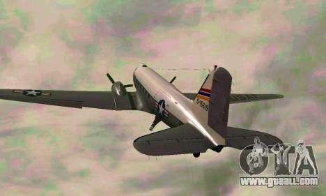C-47 Dakota USAF for GTA San Andreas back view