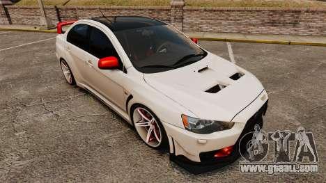 Mitsubishi Lancer Evolution X FQ400 (Cor Rims) for GTA 4 bottom view
