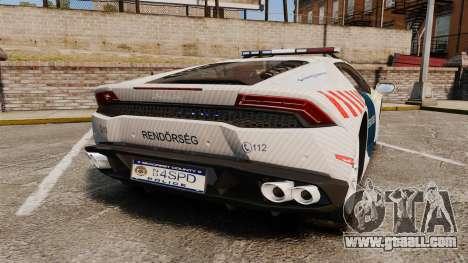 Lamborghini Huracan Hungarian Police [ELS] for GTA 4 back left view