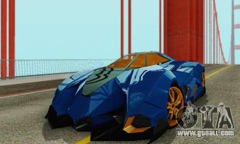Lamborghini Egoista for GTA San Andreas inner view