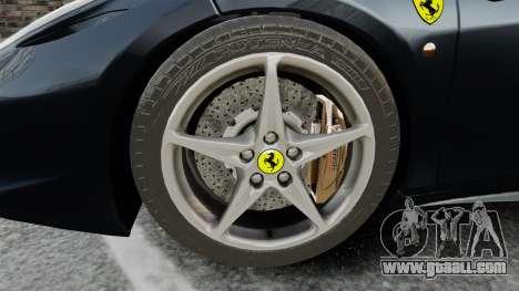 Ferrari 458 Italia for GTA 4 back view