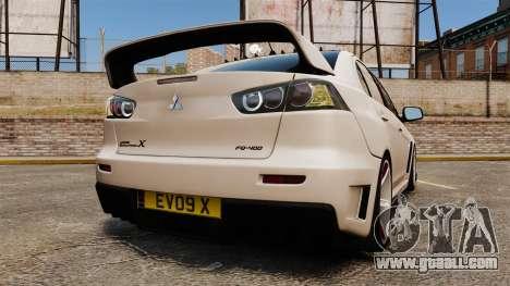 Mitsubishi Lancer Evolution X FQ400 (Cor Rims) for GTA 4 back left view