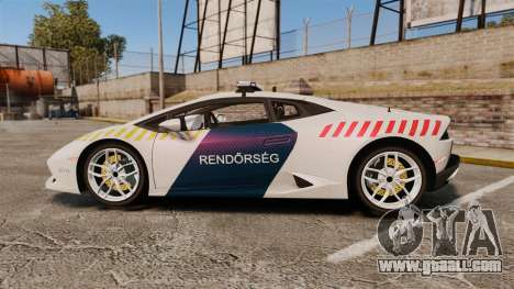 Lamborghini Huracan Hungarian Police [ELS] for GTA 4 left view