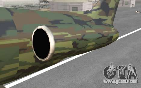 Camouflage Shamal for GTA San Andreas inner view