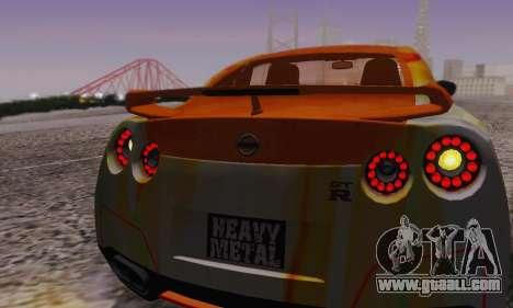 Nissan GTR Heavy Fire for GTA San Andreas bottom view