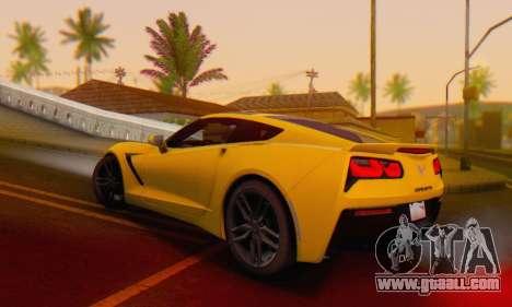 Chevrolet Corvette Stingray C7 2014 for GTA San Andreas bottom view