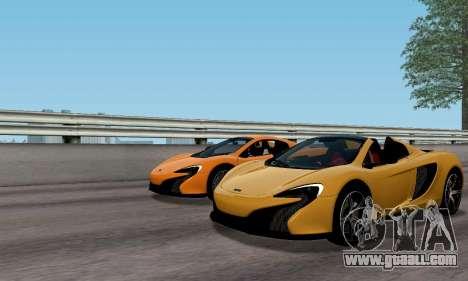 McLaren 650S Spyder 2014 for GTA San Andreas back view