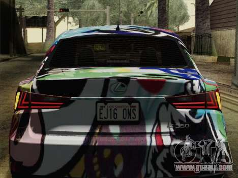 Lexus IS350 FSPORT Stikers Editions 2014 for GTA San Andreas back view