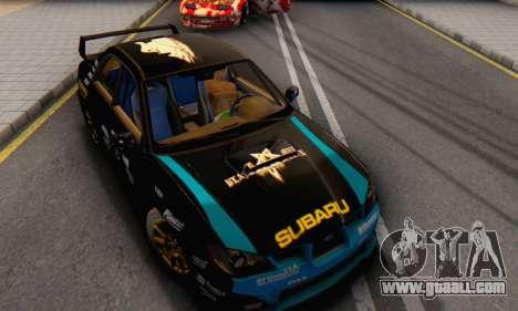 Subaru Impreza WRC STI Black Metal Rally for GTA San Andreas back view
