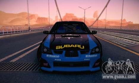 Subaru Impreza WRC STI Black Metal Rally for GTA San Andreas upper view