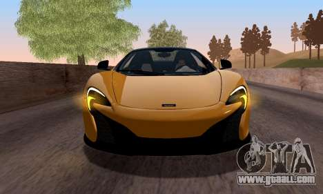 McLaren 650S Spyder 2014 for GTA San Andreas back left view