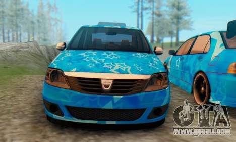 Dacia Logan Blue Star for GTA San Andreas back view