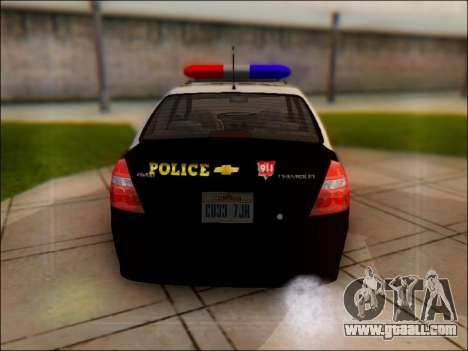 Chevrolet Aveo Police for GTA San Andreas right view