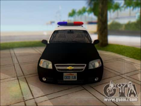 Chevrolet Aveo Police for GTA San Andreas side view