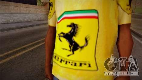 Ferrari T-Shirt for GTA San Andreas third screenshot