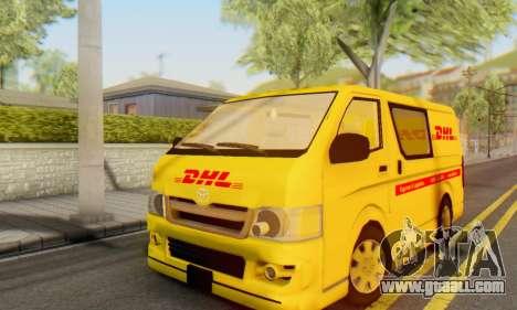 Toyota Hiace DHL Cargo Van 2006 for GTA San Andreas
