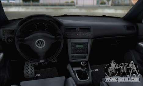 Volkswagen Golf MK4 R32 for GTA San Andreas bottom view