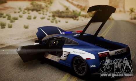 Lamborghini Gallardo LP570-4 2011 Police for GTA San Andreas back view