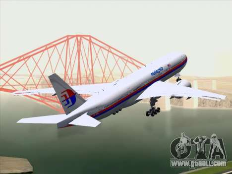Boeing 777-2H6ER Malaysia Airlines for GTA San Andreas back view