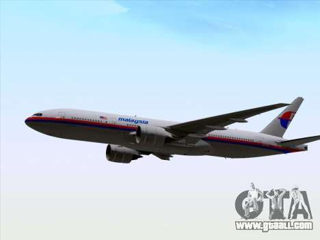 Boeing 777-2H6ER Malaysia Airlines for GTA San Andreas inner view