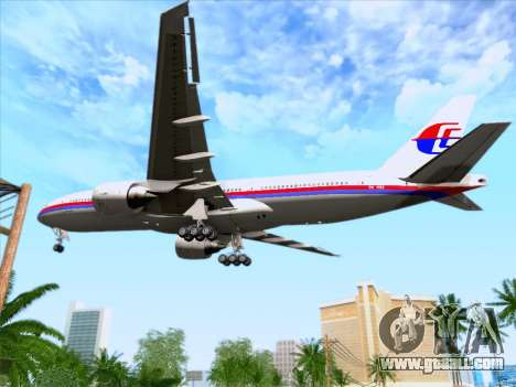 Boeing 777-2H6ER Malaysia Airlines for GTA San Andreas upper view
