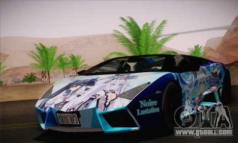 Lamborghini Reventon Black Heart Edition for GTA San Andreas back left view