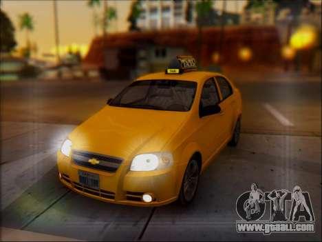 Chevrolet Aveo Taxi for GTA San Andreas bottom view