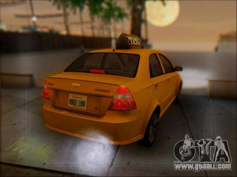 Chevrolet Aveo Taxi for GTA San Andreas upper view