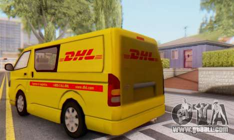 Toyota Hiace DHL Cargo Van 2006 for GTA San Andreas back left view