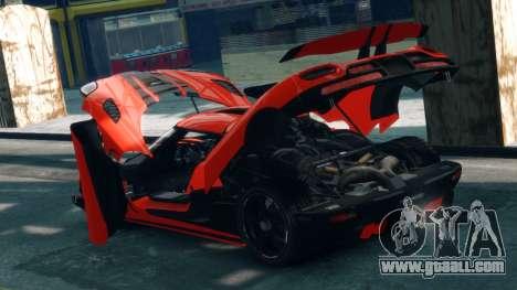 Koenigsegg Agera R 2013 for GTA 4 inner view