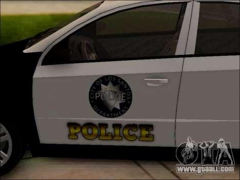 Chevrolet Aveo Police for GTA San Andreas bottom view