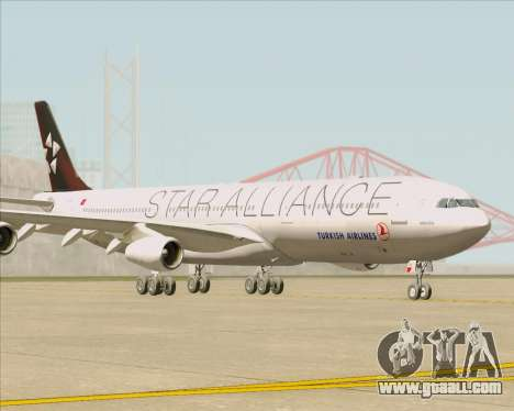 Airbus A340-311 Turkish Airlines (Star Alliance) for GTA San Andreas left view