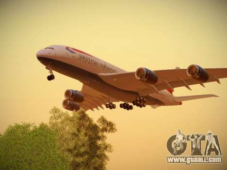 Airbus A380-800 British Airways for GTA San Andreas right view