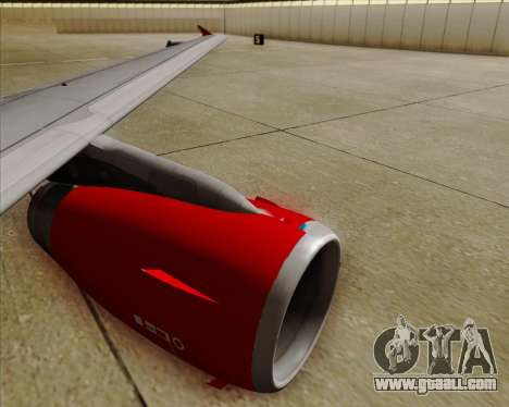 Airbus A319 Air Canada Rouge for GTA San Andreas bottom view