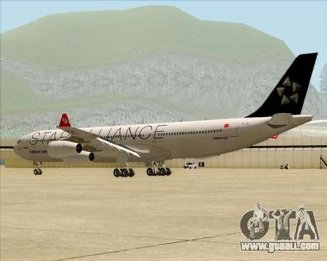Airbus A340-311 Turkish Airlines (Star Alliance) for GTA San Andreas back left view