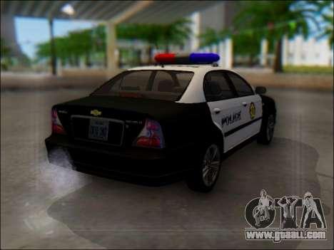 Chevrolet Evanda Police for GTA San Andreas back view