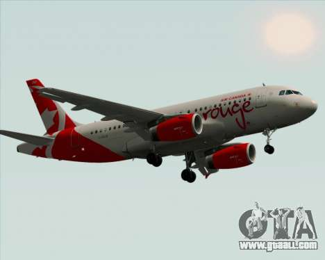 Airbus A319 Air Canada Rouge for GTA San Andreas inner view