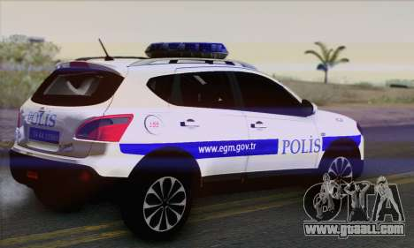 Nissan Qashqai TR POLICE for GTA San Andreas left view