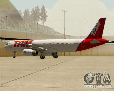 Airbus A321-200 TAM Airlines for GTA San Andreas bottom view