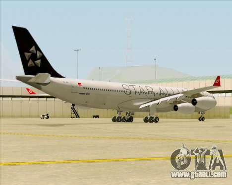 Airbus A340-311 Turkish Airlines (Star Alliance) for GTA San Andreas right view