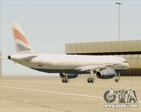Airbus A321-200 British Airways for GTA San Andreas bottom view