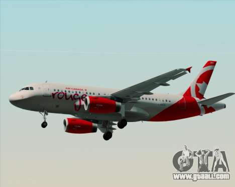 Airbus A319 Air Canada Rouge for GTA San Andreas back left view