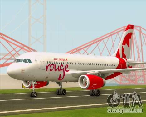 Airbus A319 Air Canada Rouge for GTA San Andreas left view