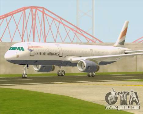Airbus A321-200 British Airways for GTA San Andreas side view