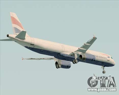 Airbus A321-200 British Airways for GTA San Andreas back view