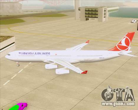 Airbus A340-313 Turkish Airlines for GTA San Andreas back view